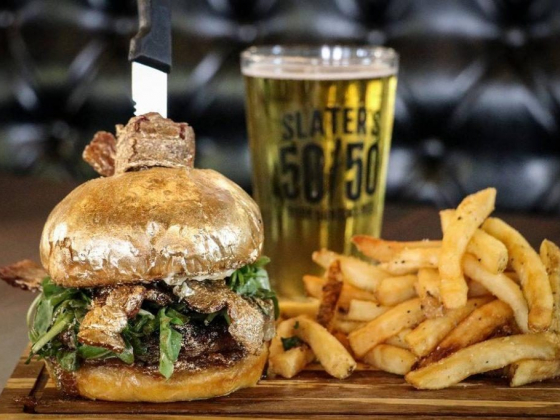Slater's 50/50 serves a 24K burger made with real gold